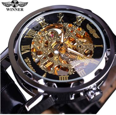Automatic Skeleton Mechanical Watches -  Leather Band - Silver black