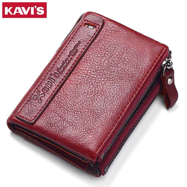 Men's Genuine Leather Zipper Wallet - Red