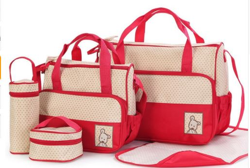 5pcs Baby Changing Diaper Nappy Bag - Red