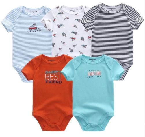 Babies Short Sleeve Rompers (0-3 months) - 5pc Set - Mix Colours