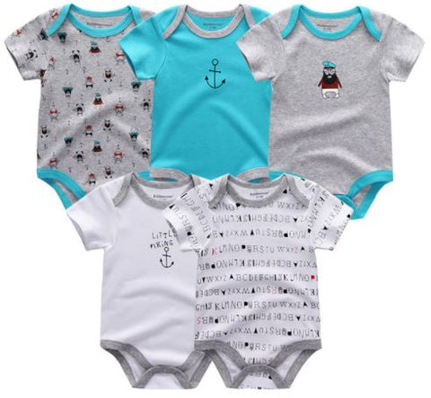Babies Short Sleeve Rompers (0-3 months) - 5pc Set - Blue