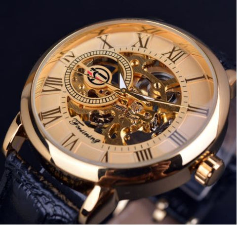 Automatic Skeleton Mechanical Watches - Gold and Black Leather Band