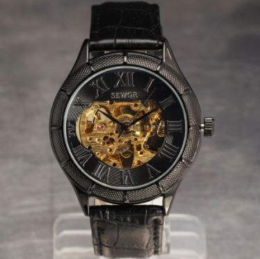 Automatic Skeleton Mechanical Watches - Retro Roman Dial -  Black