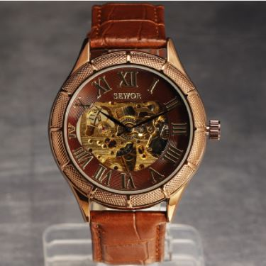 Automatic Skeleton Mechanical Watches - Retro Roman Dial -  Brown