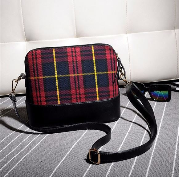 Plaid Shoulder Tote Bag - Red