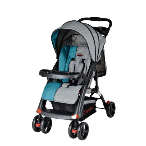 4 Wheel Strollers-3 Position Baby Stroller ,Baby/Parent Tray, Safety Harness, Shopping Basket- Grey/Teal