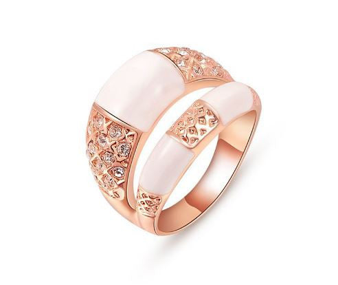 Rose Gold Plated Dual Band Rings -Rose Gold Plated