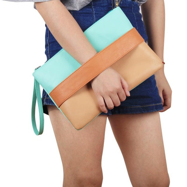 Ladies Patchwork Clutches - Brown Blue