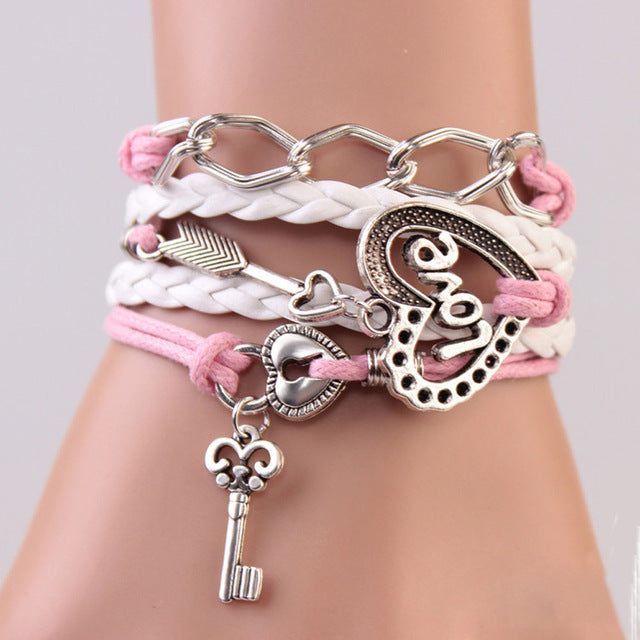 Leather Infinity Bracelets - Love Pink