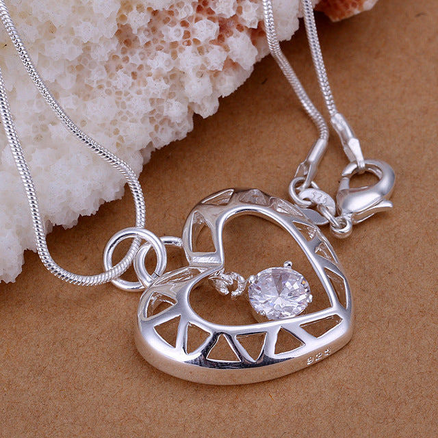 Heart and Stone Pendant Necklace