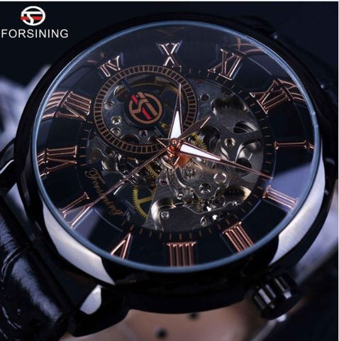 Automatic Skeleton Mechanical Watches - Black Rose Gold and Black Leather Band
