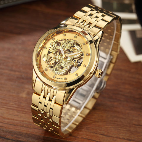Men's Automatic Dragon Skeleton Mechanical Watch - Gold