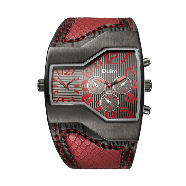 Men's Dual Dial Snake Band WristWatch - Red