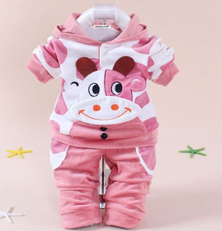 Babies 2pc Clothes Set MOOMOO Cow Pink - 12months