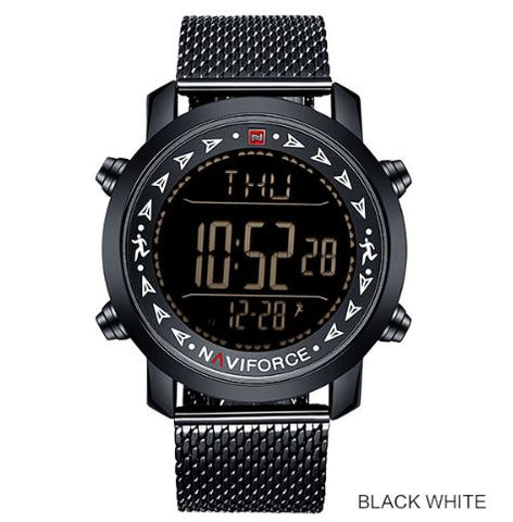 Men's Dual Display Pedometer Naviforce Watch - Black