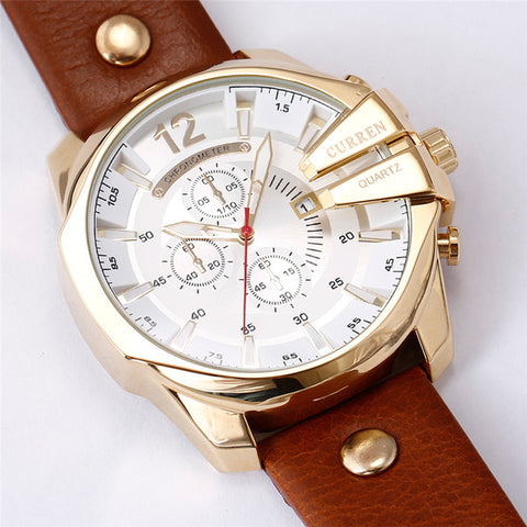 Men's Business Casual Curren Watches - Gold White