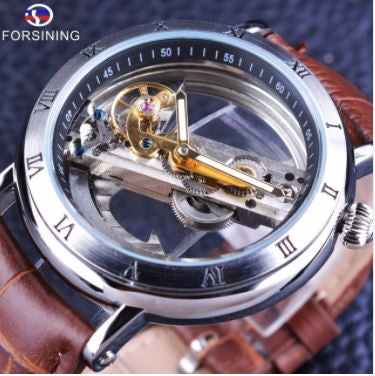 Automatic Skeleton Mechanical Watches - Minimalism - Brown Silver