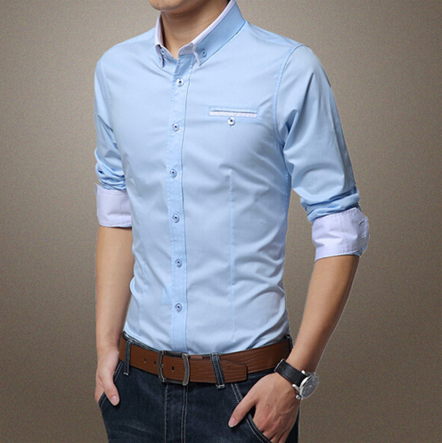 Men's Patchwork Slim Fit 100% Cotton Shirts - Light Blue