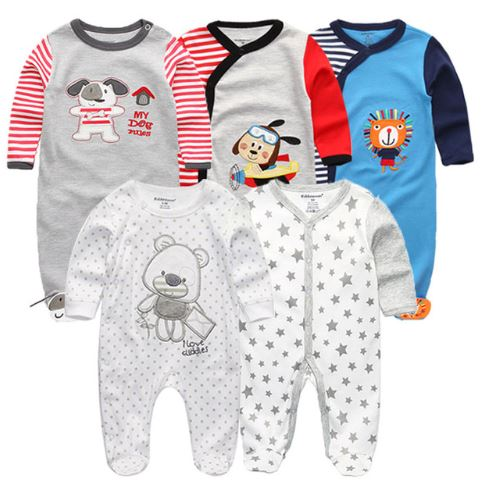 Babies Long Sleeve Rompers (3 - 6 months) - 5pc Set - Blue and Grey