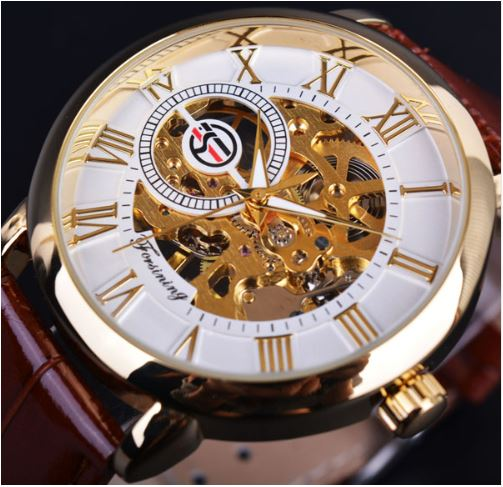 Automatic Skeleton Mechanical Watches - White and Gold with Brown Leather Band