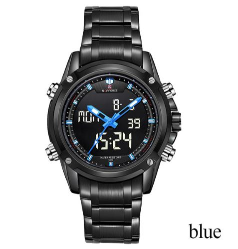 Men's Dual Display Stainless Steel Naviforce Watch - Black blue