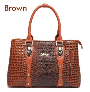 Ladies Crocodile Print Handbag - Brown