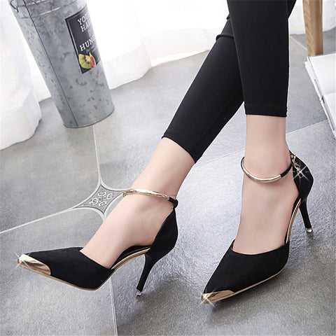Ladies Suede Pumps Metal Toe - Black