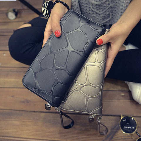 Ladies Big Stone Casual Wallet - 4 colours