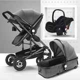 FREE Delivery - Baby Pram Stroller - 3 Function Foldable Baby Pram with Car Seat-Black