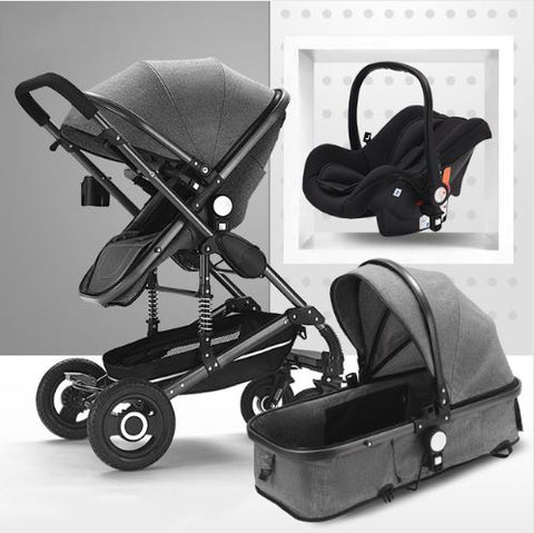 Baby Pram Stroller - 3 Function Foldable Baby Pram with Car Seat-Grey