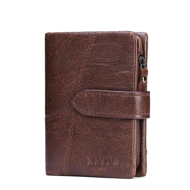 Men's Genuine Leather Vintage Wallet - Coffee Vertical
