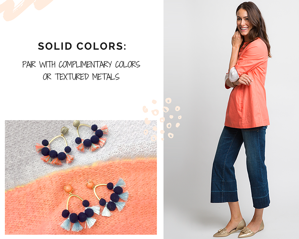 STATEMENT EARRINGS: SOLID COLOR WITH COMPLIMENTARTY ACCENTS