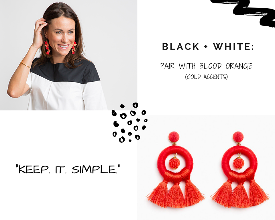 STATEMENT EARRINGS: BLACK + WHITE WITH BLOOD ORANGE