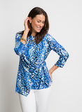 ADJUSTABLE FAUX WRAP TOP IN BLUE WATERCOLOR