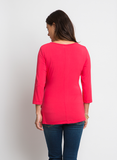 ADJUSTABLE FAUX WRAP TOP IN GERANIUM