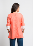 VIVID CORAL COTTON TUNIC TOP