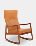 High Back Leather Rocking Chair by Ole Wanscher