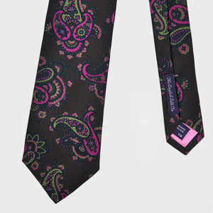 Rich Buteh Silk Tie in Brown & Pink