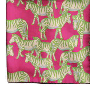 Zebra Silk Pocket Square in Pink & Lime