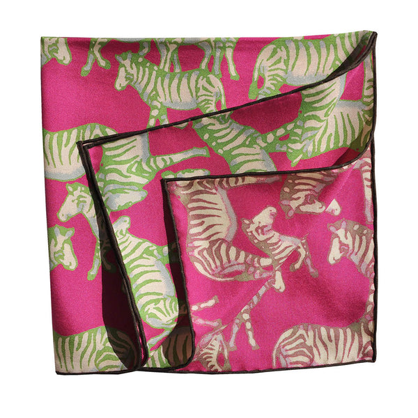 English Silk Jazzy Zebra Pocket Square