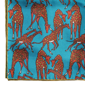 Dapper Giraffe Silk Pocket Square in Teal