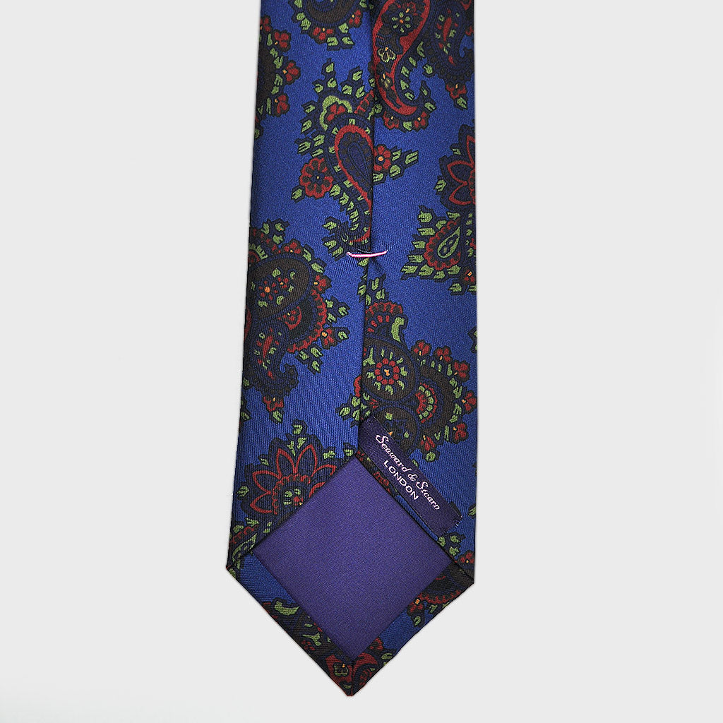 Rich Buteh Silk Tie in Blues, Red & Lime