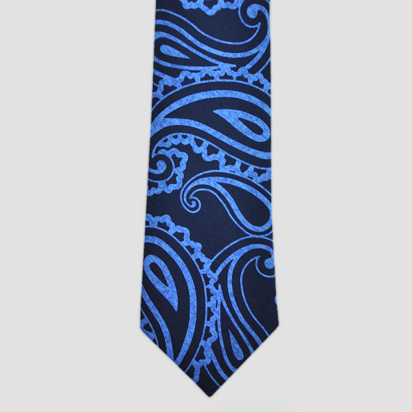 English Silk Paisley Blue Tones Tie