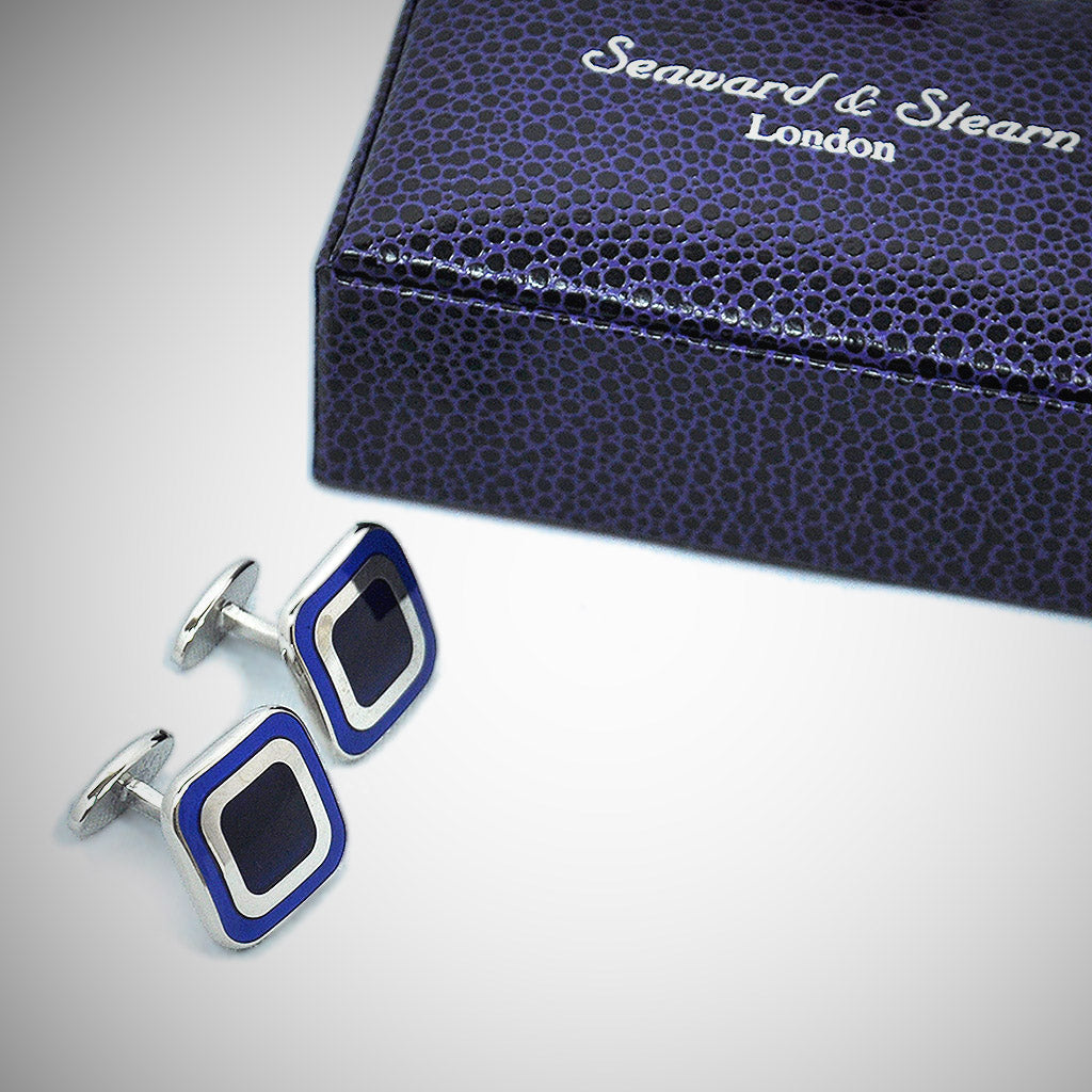 Sterling Silver Rounded Square Cufflink with enamelled Blue Tones