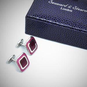 Sterling Silver Rounded Square Cufflink with enamelled Pink & Purple