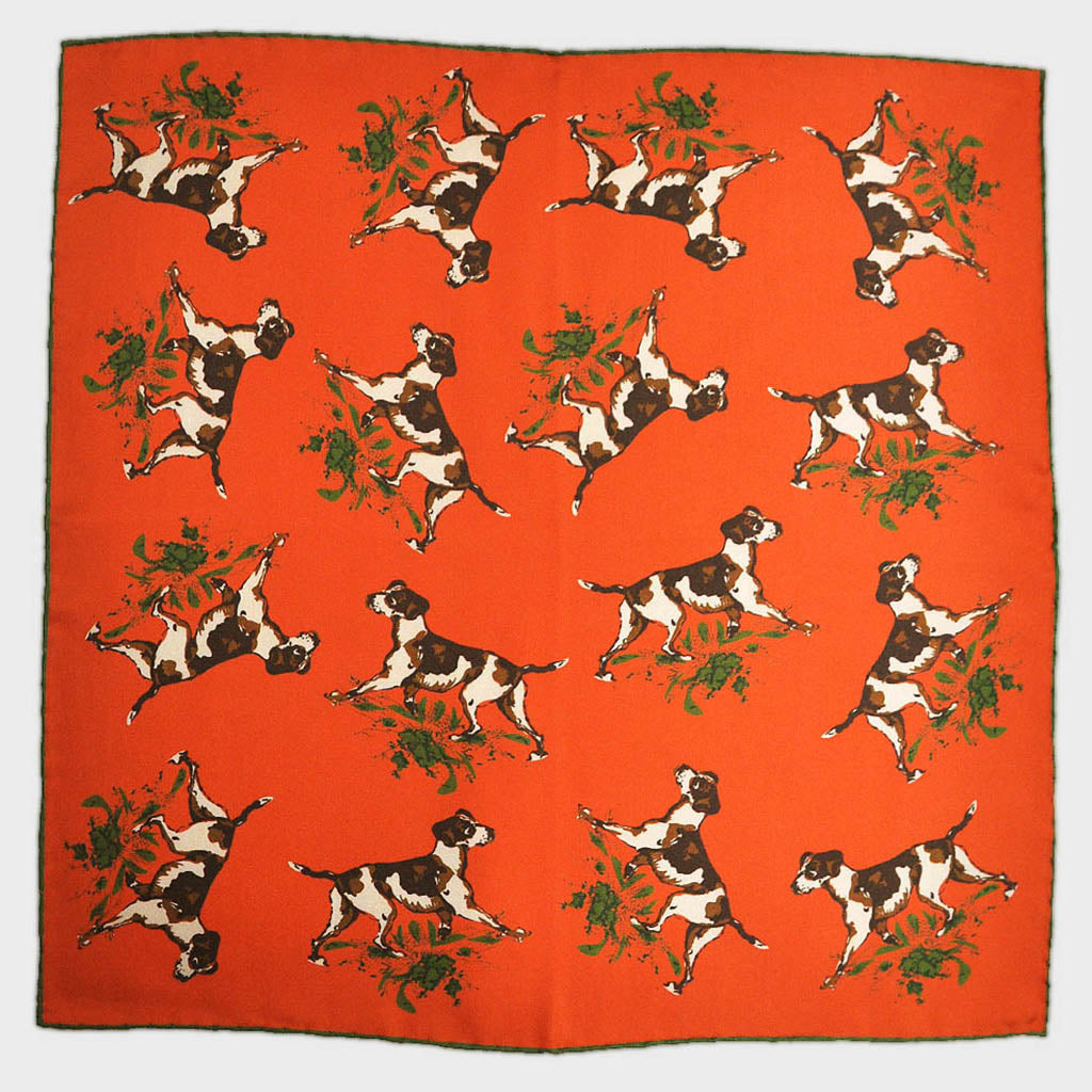 English Silk 'Best Friend' Pocket Square in Sunset Orange