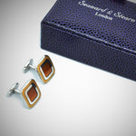 Sterling Silver Rounded Square Cufflink with enamelled Antique Gold & Sunset Orange