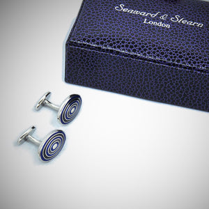 Funky Target Sterling Silver Cufflink with enamelled Blue & Olive