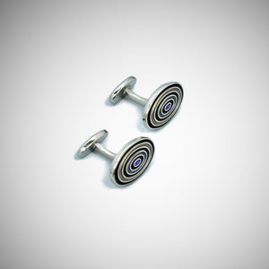 Funky Target Sterling Silver Cufflink with enamelled Olive, Lime & Purple