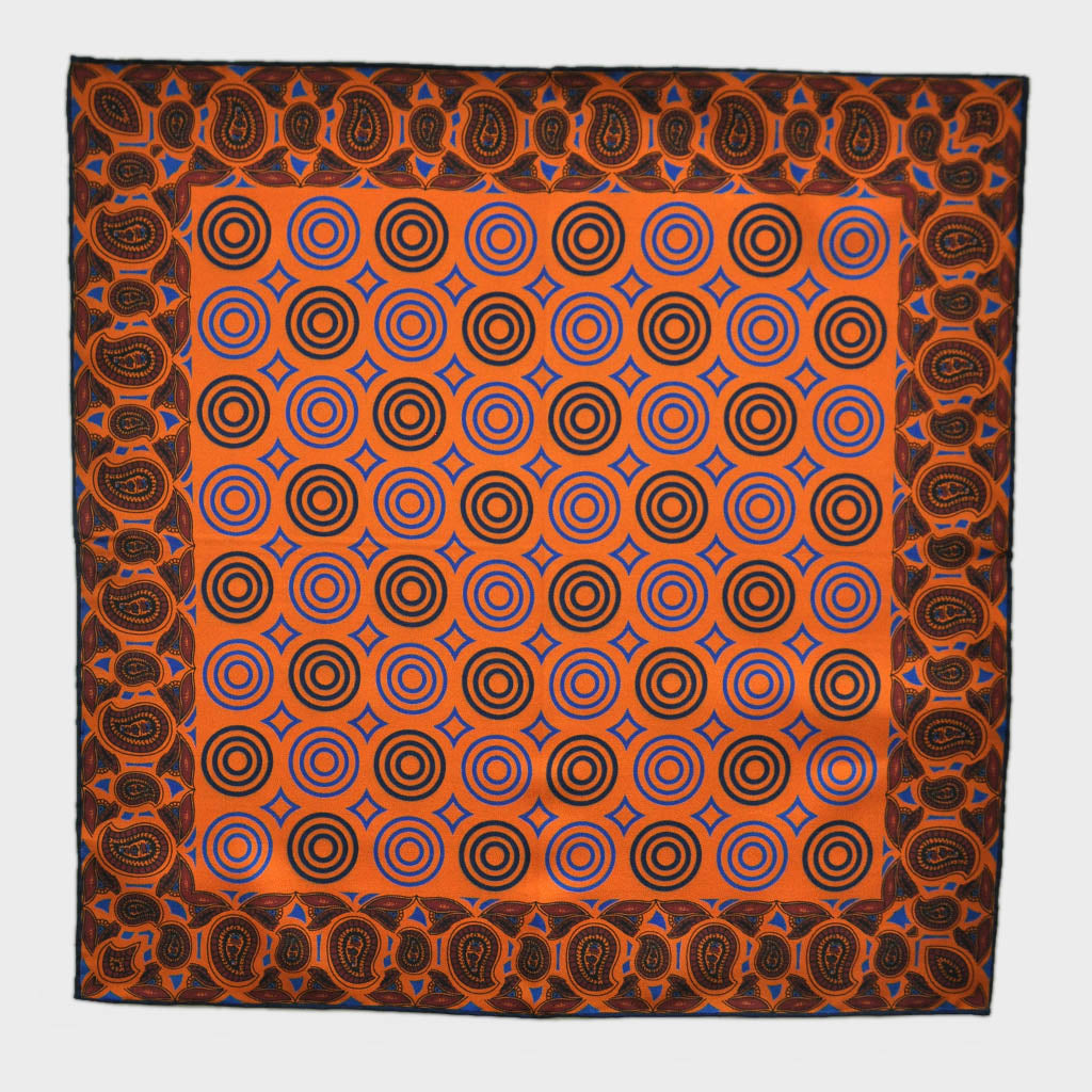 English Silk Funky Target Pocket Square in Orange and Blue